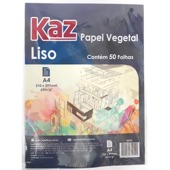 PAPEL VEGETAL A4 63G S/MARGEM C/50FLS KAZ