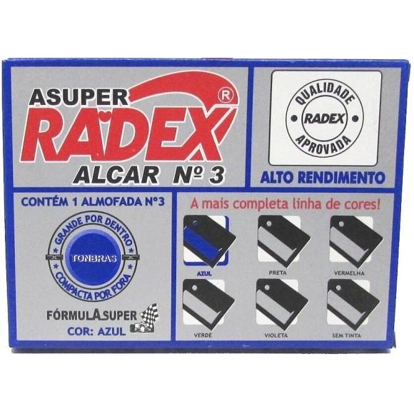 ALMOFADA P/CARIMBO N°3 AZUL 7x11CM RADEX