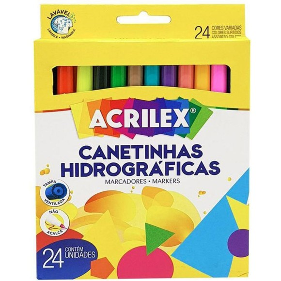 CANETINHA HIDROGRAFICA C/24 CORES ACRILEX