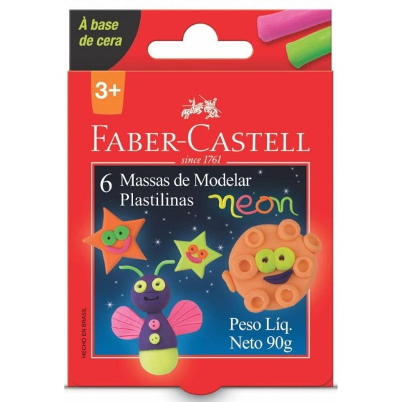 MASSINHA BASE AMIDO C/6 CORES NEON FABER CASTELL