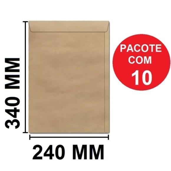 ENVELOPE SACO 240X340 KRAFT PCT C/10 UN. SCRITY