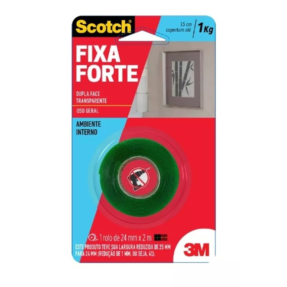 FITA DUPLA FACE 24MM X 2M FIXA FORTE 1Kg SCOTCH 3M