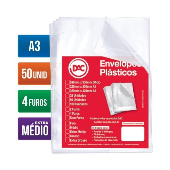 ENVELOPE PLASTICO A3 C/4 FUROS C/50 UNIDADES EXTRA MÉDIO 0,12 DAC