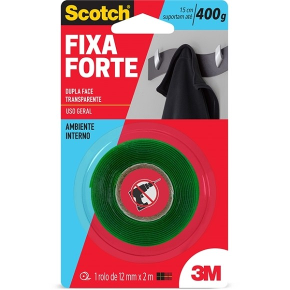FITA DUPLA FACE 12MM X 2M FIXA FORTE 400G SCOTCH 3M