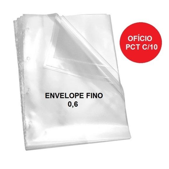 ENVELOPE PLASTICO C/4 FUROS OFICIO PCT C/10 UNIDADES FINO 0,6 DAC
