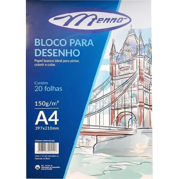 BLOCO DESENHO A4 BRANCO 150GR C/20 FOLHAS MENNO