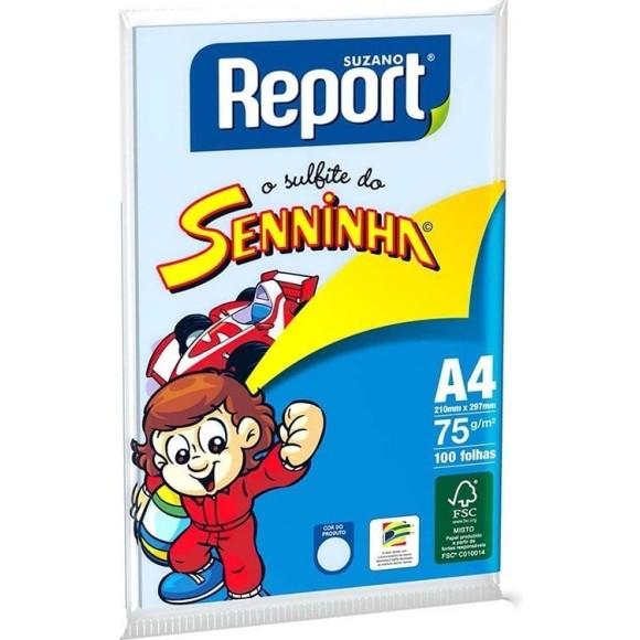 PAPEL SULFITE A4 75GR C/100 FOLHAS AZUL SENINHA REPORT