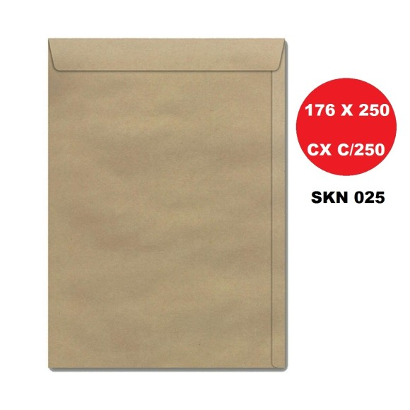 ENVELOPE SACO 176X250 KRAFT CAIXA C/250 SCRITY