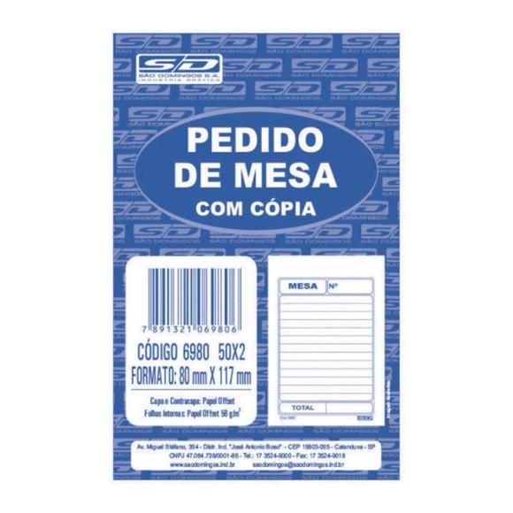 BL. PEDIDO DE MESA SIMPLES C/COPIA 50X2 FOLHAS SAO DOMINGOS