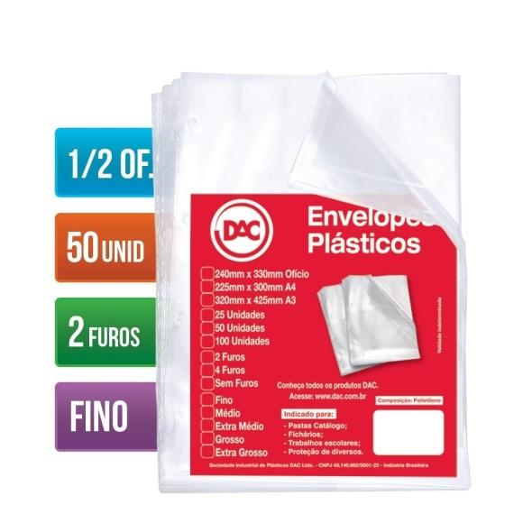 ENVELOPE PLASTICO 1/2 OFICIO C/2 FUROS C/50 UNIDADES FINO 0,06 DAC