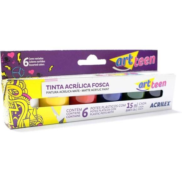 TINTA ACRILICA FOSCA 15ML C/6 CORES ACRILEX