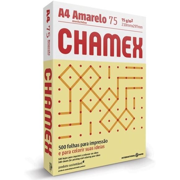 PAPEL SULFITE A4 75GR C/500 FOLHAS AMARELO CHAMEX