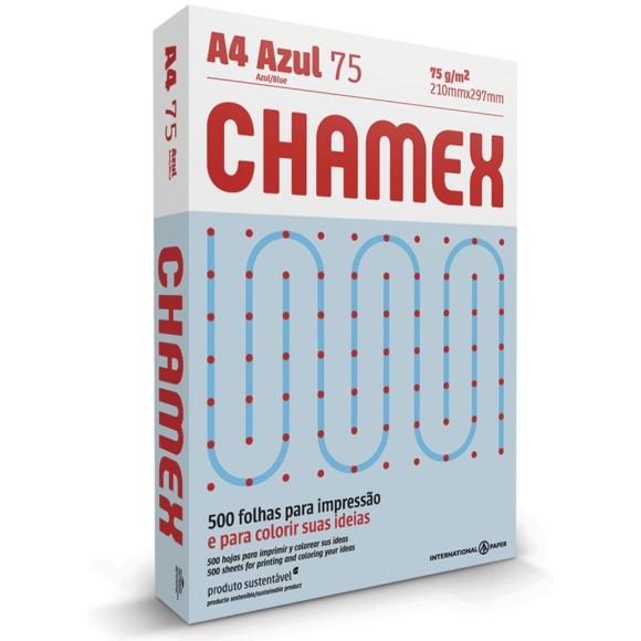 PAPEL SULFITE A4 75GR C/500 FOLHAS AZUL CHAMEX
