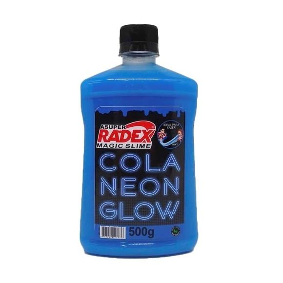 COLA GLOW NEON SLIME 500 GR AZUL ASUPER RADEX