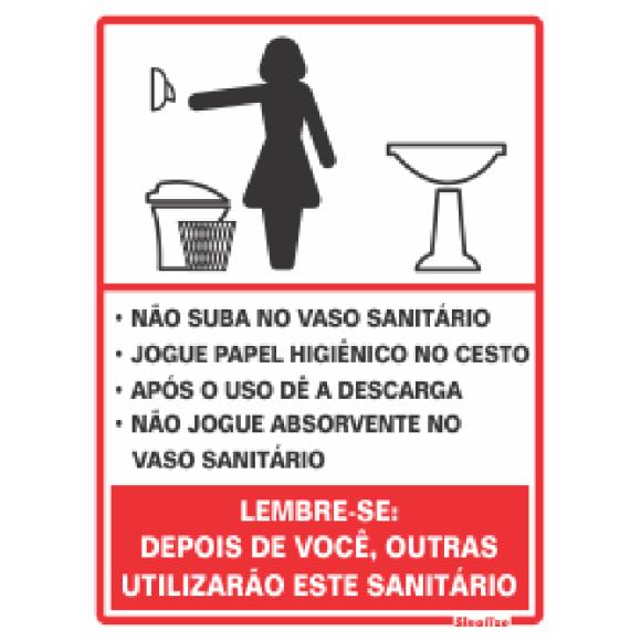 PLACA SINALIZAÇÃO PROCEDIMENTO SANITARIO FEMININO 15X20 POLIESTIRENO SINALIZE