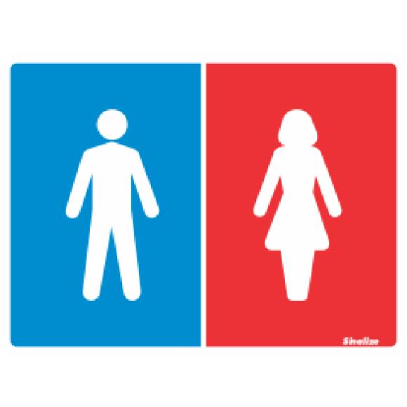 PLACA SINALIZAÇÃO SANITARIO FEMININO/MASCULINO 15X20 POLIESTIRENO SINALIZE