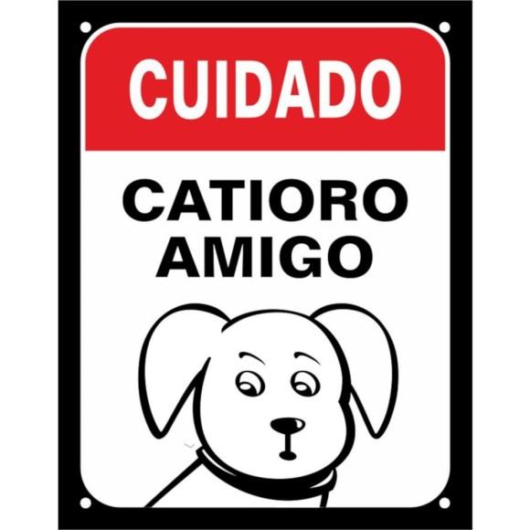 PLACA DECORATIVA CUIDADO, CATIORO AMIGO 18X23CM SINALIZE