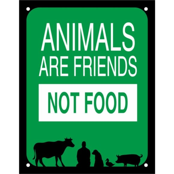 PLACA DECORATIVA ANIMALS ARE FRIENDS NOT FOOD 18X23CM SINALIZE