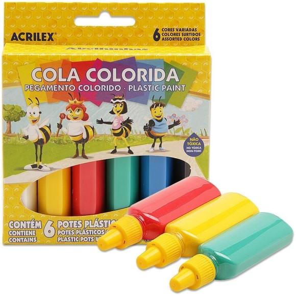 COLA COLORIDA 23 GR C/6 CORES ACRILEX