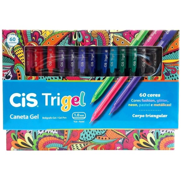 CANETA GEL 1.0 C/60 CORES TRIGEL CIS