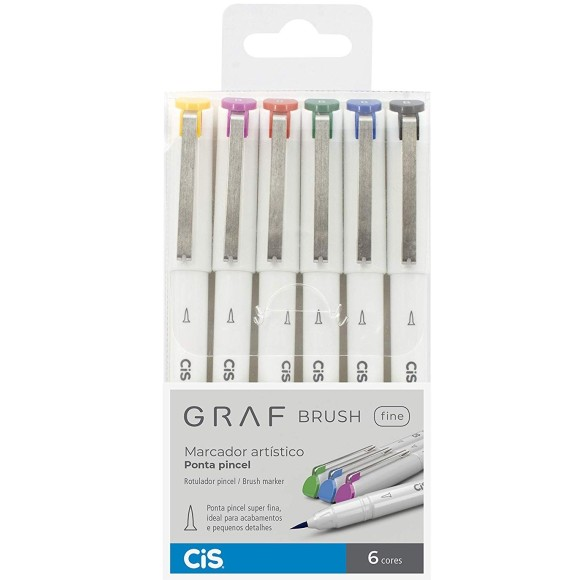 CANETA PINCEL C/6 CORES GRAF BRUSH FINE CIS