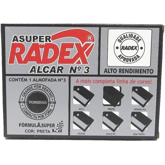 ALMOFADA P/CARIMBO N°3 PRETA 7x11CM RADEX