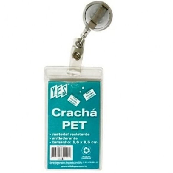 CRACHA PET 56 x 95MM C/CLIP RETRATIL VERTICAL YES