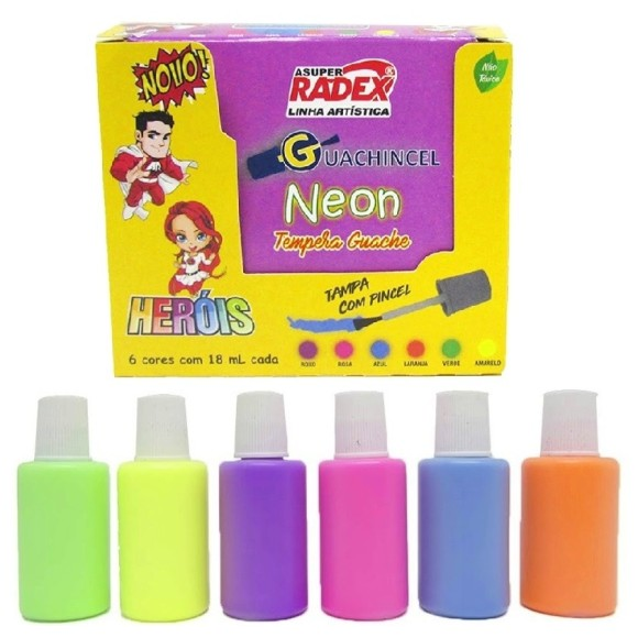 GUACHE 18ML 6 CORES NEON C/PINCEL TEMPERA ASUPER RADEX