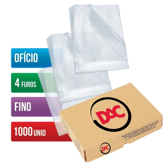 ENVELOPE PLASTICO OFICIO C/4 FUROS C/1000 UNIDADES FINO 0,06 DAC