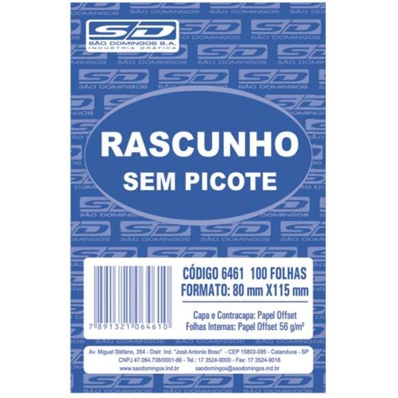 BL. RASCUNHO PEQUENO BRANCO S/PICOTE C/100 FOLHAS SAO DOMINGOS