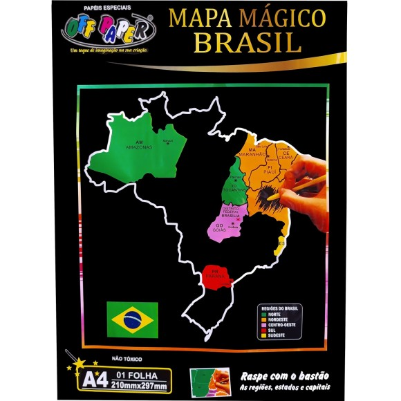 MAPA MÁGICO BRASIL A4 RASPE C/BASTAO OFF PAPER