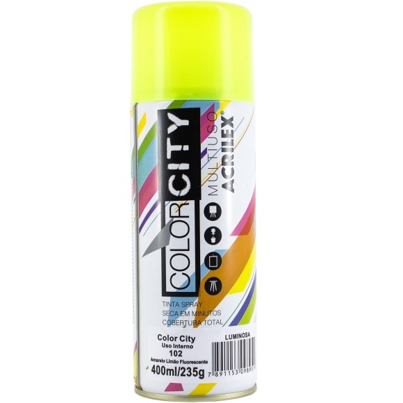 TINTA SPRAY MULTIUSO 400ML AMARELO LIMAO FLUORESCENTE COLOR CITY ACRILEX