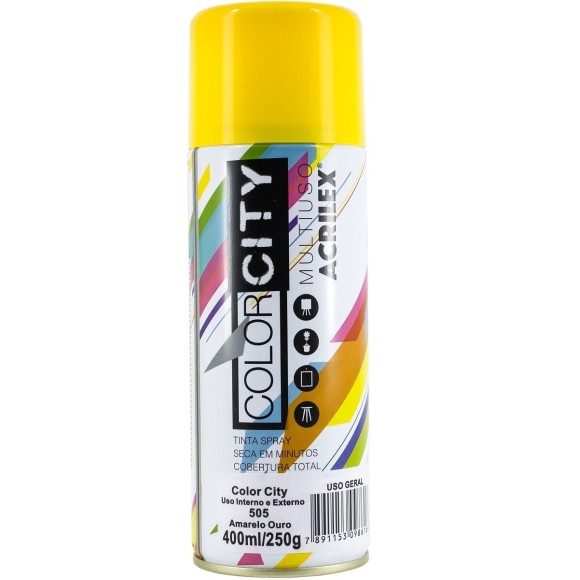 TINTA SPRAY MULTIUSO 400ML AMARELO OURO COLOR CITY ACRILEX