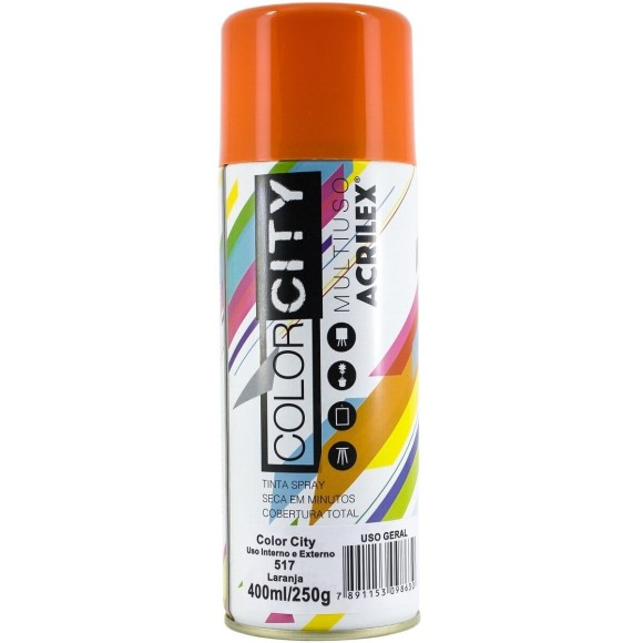 TINTA SPRAY MULTIUSO 400ML LARANJA COLOR CITY ACRILEX