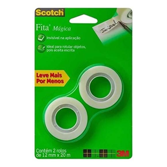 FITA MAGICA 12MM X 20M INVISIVEL C/2 ROLOS SCOTCH 3M