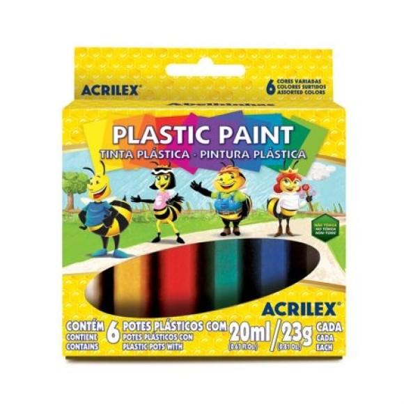 TINTA PLASTICA 20ML C/6 CORES PLASTIC PAINT ACRILEX