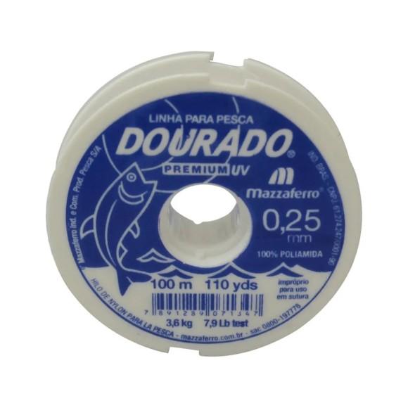 LINHA DE NYLON 0.25MM C/100MT BRANCA DOURADO MAZZAFERRO
