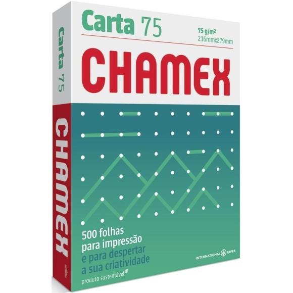 PAPEL SULFITE CARTA 75GR C/500 FOLHAS BRANCO CHAMEX