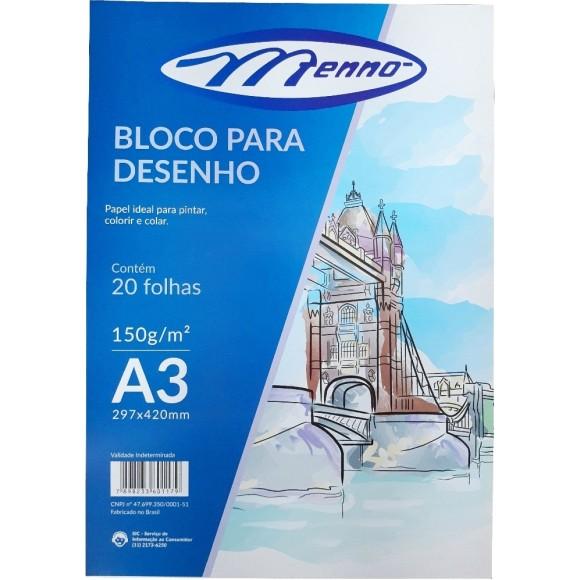 BLOCO DESENHO A3 BRANCO 150GR C/20 FOLHAS MENNO