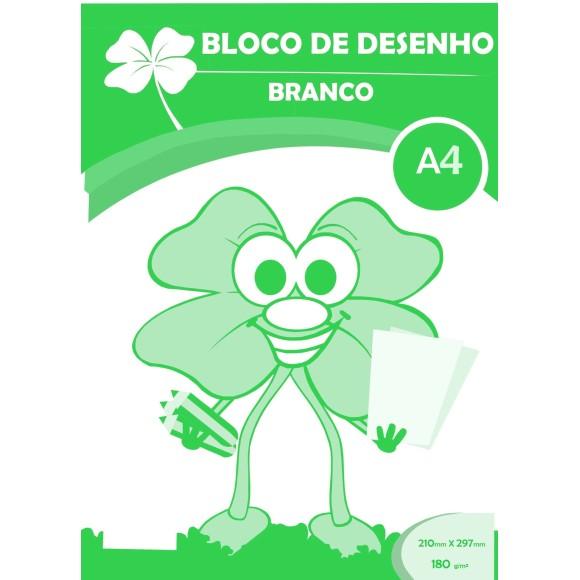 BLOCO DESENHO A4 BRANCO 180GR C/20 FOLHAS TREVO