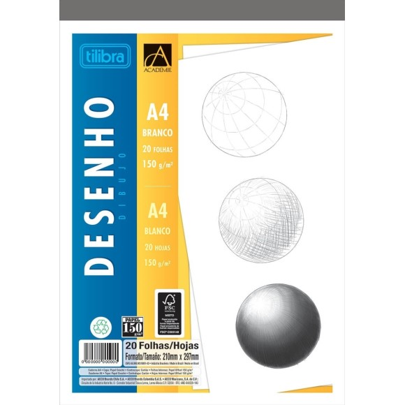 BLOCO DESENHO A4 BRANCO 150GR C/20 FOLHAS ACADEMIE TILIBRA