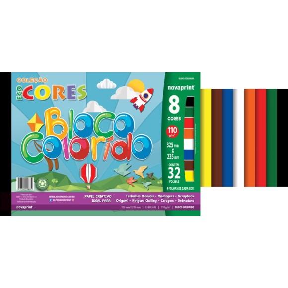 BLOCO CRIATIVO ECOCORES COLORIDO 8 CORES 110G 32 FOLHAS NOVAPRINT