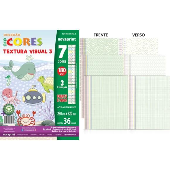 BLOCO CRIATIVO TEXTURA VISUAL N°3 180GR C/36 FLS 7 CORES PASTEL ECOCORES NOVAPRINT