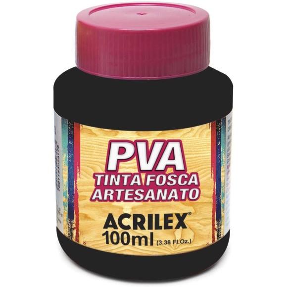 TINTA PLASTICA PVA FOSCA 100ML PRETO ACRILEX