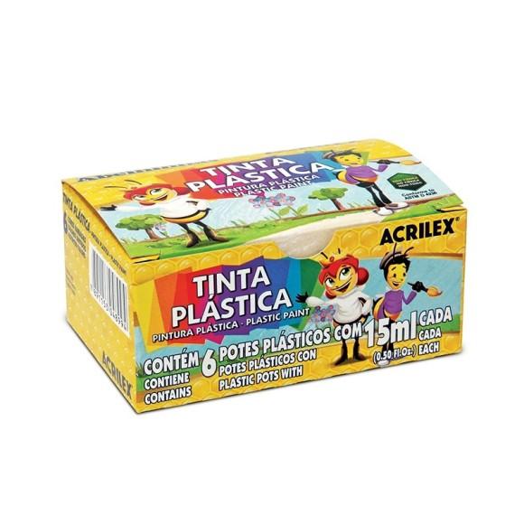 TINTA PLASTICA 15ML C/6 CORES PLASTIC PAINT ACRILEX