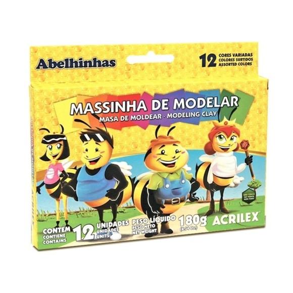 MASSINHA BASE CERA 12 CORES 180GR PLASTILINA ACRILEX