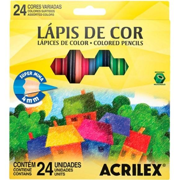 LAPIS DE COR C/24 CORES SEXTAVADO SUPER MINA ACRILEX