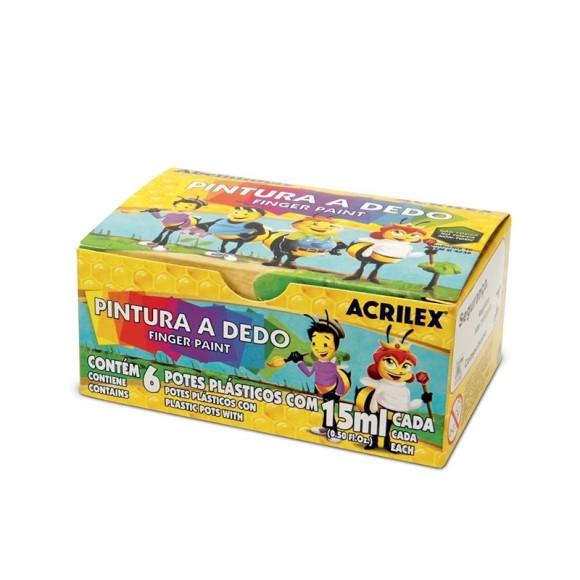 PINTURA A DEDO 15ML C/6 CORES ACRILEX