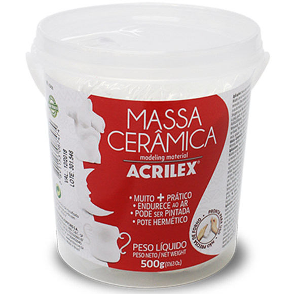 MASSA CERÂMICA FRIA 500GR BRANCA ACRILEX