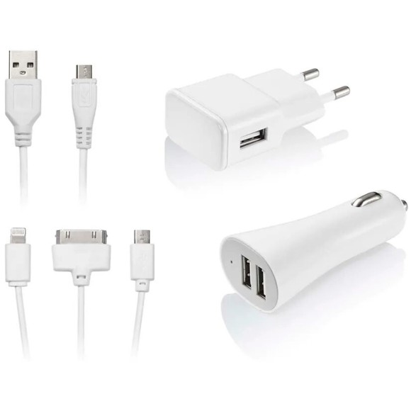 KIT CARREGADOR USB 3 EM 1 IPHONE/ANDROID MULTILASER